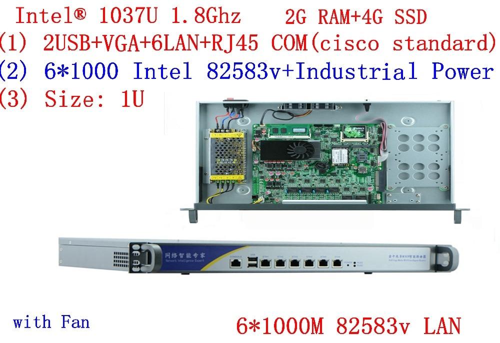 6*lan Network 1U Firewall Server PC C1037u 6*Gigabit 82583v 2G RAM 4G SSD Support ROS RouterOS Mikrotik PFSense Panabit Wayos