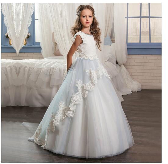 Girl's Formal Dresses 2017 Girls Princess Dresses Kids Long Handmade Lace Flowers Party Birthday Gowns Children's Wedding Dress long criss cross open back formal party dress