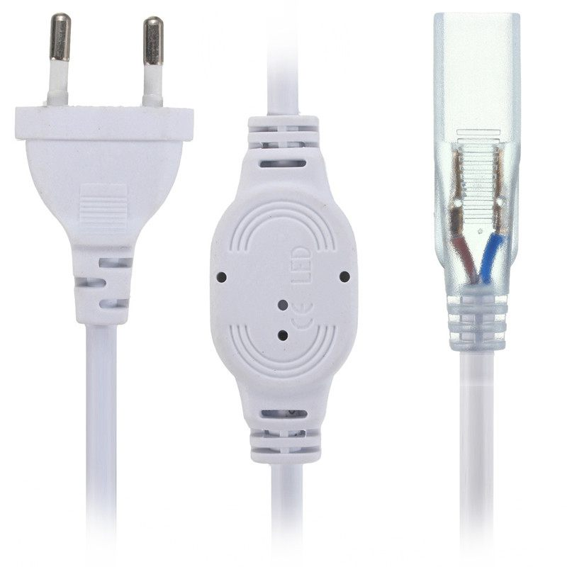 2 Pins US/EU Plug Socket With LED Strip 5050 SMD Accessories Light Bar AC 220V