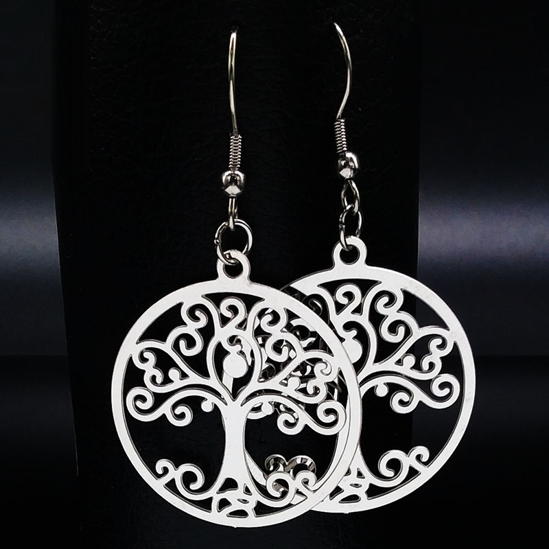 2019 Silver Color Stainless Steel Tree Of Life Drop Earrings For Women Round Earrings For Women Jewelry Aretes De Mujer E612144
