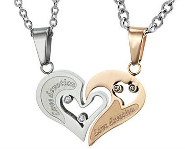 One Pair of his and hers Stainless Steel I Love You Matching Heart