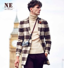 High Quality Winter Autumn Man Warm Plaid Blends Red Brown Full Sleeve Long Suits Long Blazers Business Wedding Party Coats 3XL