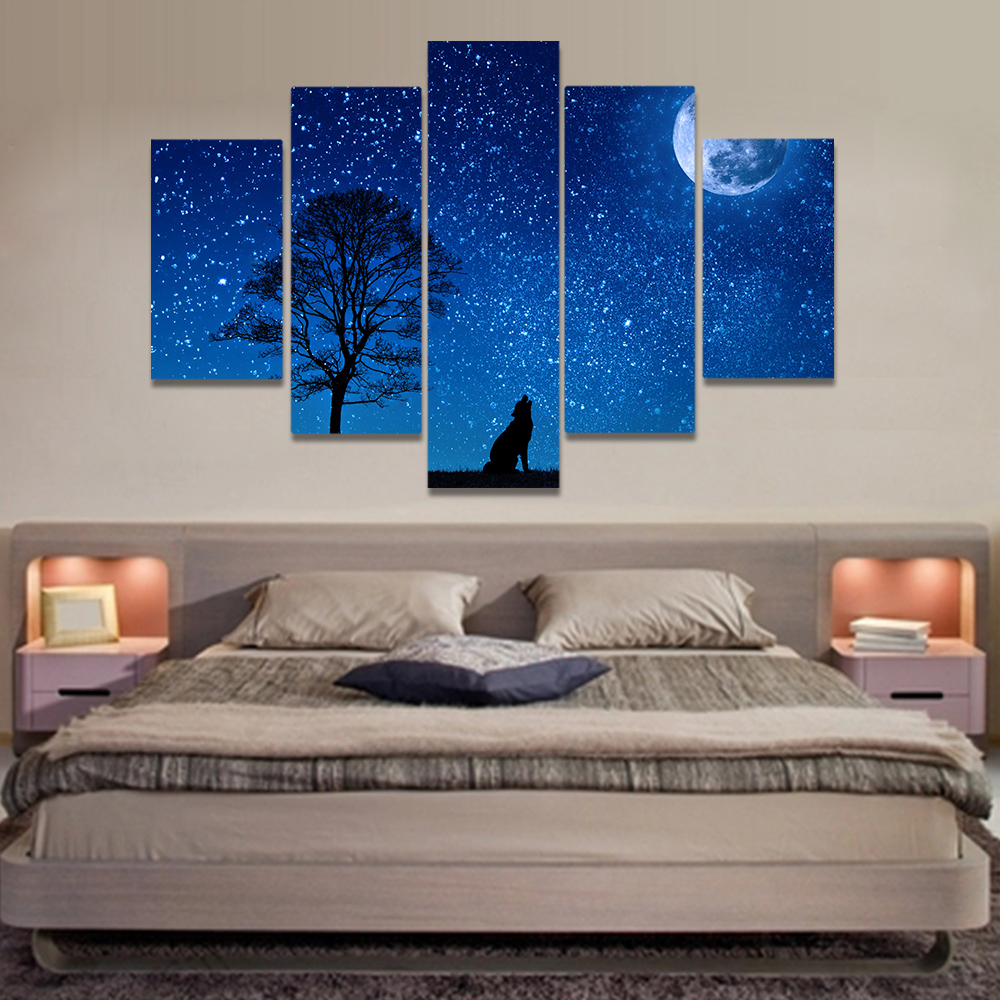 Unframed Canvas Painting Starry Sky Full Moon Howling Wolf Picture Prints Wall Picture For Living Room Wall Art Decoration