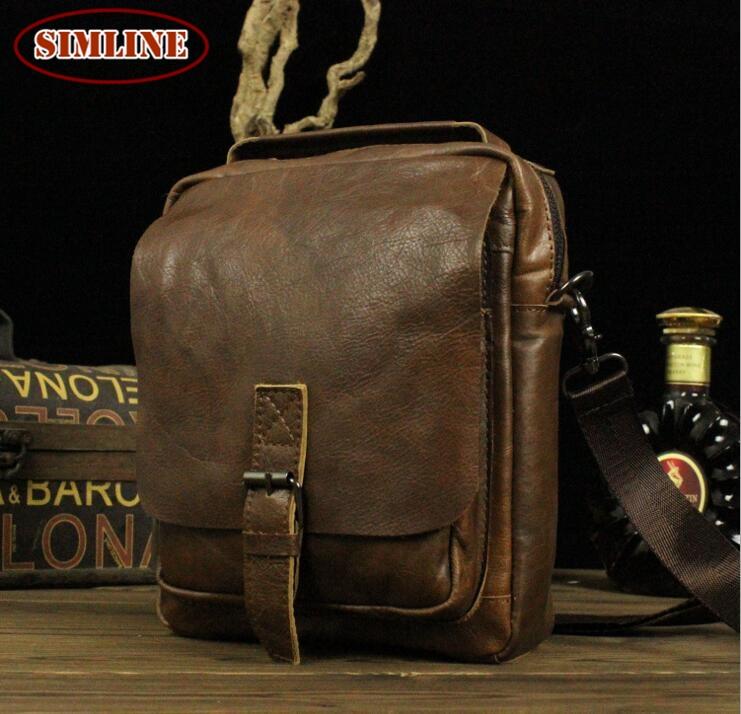 New High Quality Vintage Casual 100 Genuine Leather Cowhide Men Small Handbag Handbags Shoulder Bag Messenger