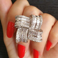 Square Petals Design Platinum Plated Big Rings For Women All Shinning AAA+ Zircon 360 Rotation surface Ring Fashion Jewelry 2017