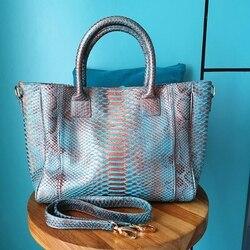 جديد مصمم الأزياء الفاخرة حقيقية بيثون الجلد النساء كبيرة حمل حقيبة ريال بيثون حقيبة جلدية صغيرة بيثون حقيبة للسيدات