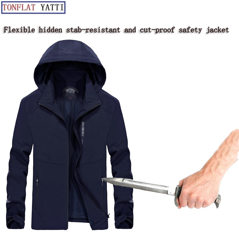 New 2019 Soft Stab-Resistant Anti-Cut Men Jacket Hooded Hidden Hide Self Defense Police Swat Thin And Light Soft Clothing 3XL