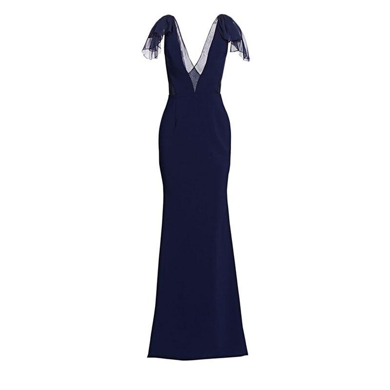 Robe de soirée marraine formelle robe Vestidos Festa fête de mariage robe de dîner invité femmes bleu marine mère de la robe de mariée