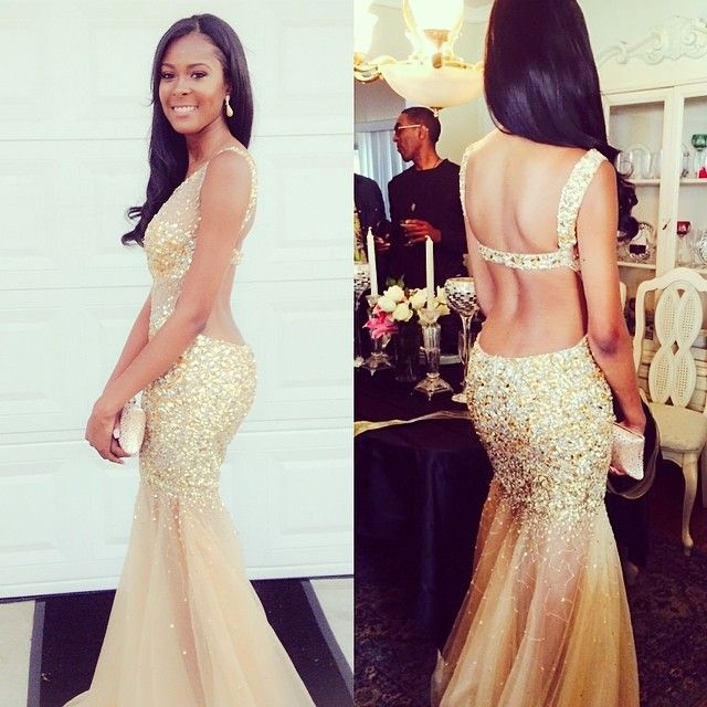 Backless Champagne Mermaid Prom Dresses 2016 New Fashion Gold Beading  Sparkly Party Dress Long Prom Gown-in Prom Dresses from Weddings   Events  on ... ff0eb4c3b068