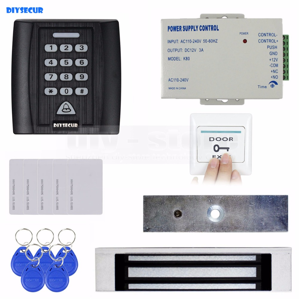 DIYSECUR Door Bell Button180kg Magnetic Lock 125KHz RFID ID Card Reader Password Keypad Access Control System Security Kit KS158 diysecur 280kg magnetic lock 125khz rfid password keypad access control system security kit exit button k2
