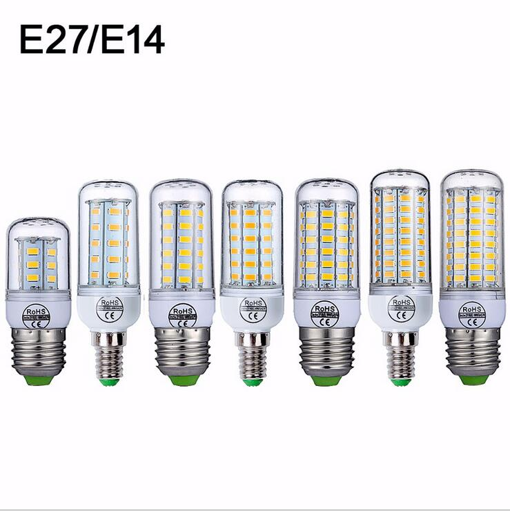 E27 LED Lamp 220V SMD 5730 E14 LED Light 24 36 48 56 69 72 LEDs Corn Bulb Chandelier For Home Lighting LED Bulb