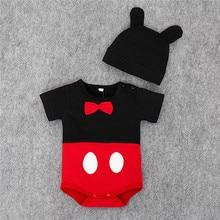 Одежда для малышей, хлопок, унисекс, Комбинезоны для маленьких мальчиков и девочек, летняя Милая одежда с короткими рукавами и рисунком для малышей