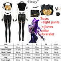 Jeu LOL ligue des légendes KDA Kaisa Kai'Sa tenue Cosplay hauts pantalons slim gants + cou + Bracelet en cuir Costume uniforme Punk