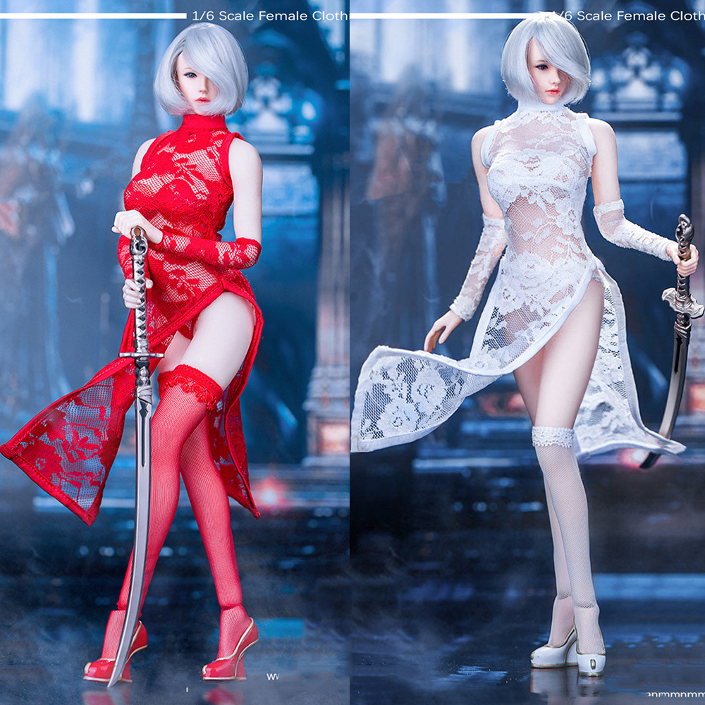 3 Colors Hot Figures Accessory Manmodel MM011 1/6 2b Female Lace Cheongsam Set Red White Black Clothing Set Figure Model