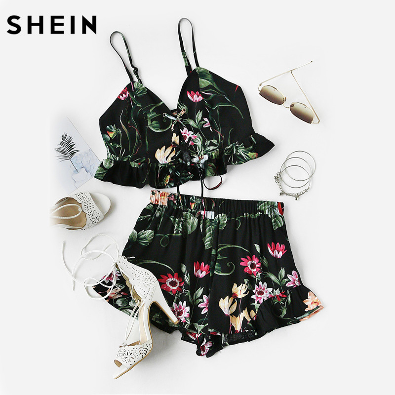 SHEIN Women Summer Black Botanical Print Lace Up Smocked Cami and Ruffle Shorts Co-Ord Two Piece Set Top and Pants pink lace up design long sleeves top and pleated design skirt two piece outfits