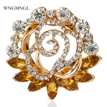 WNGMNGL 2018 New Fashion Female Brooches Classic Gold Color Crystal Flower for Women Wedding Statement Brooch Jewelry
