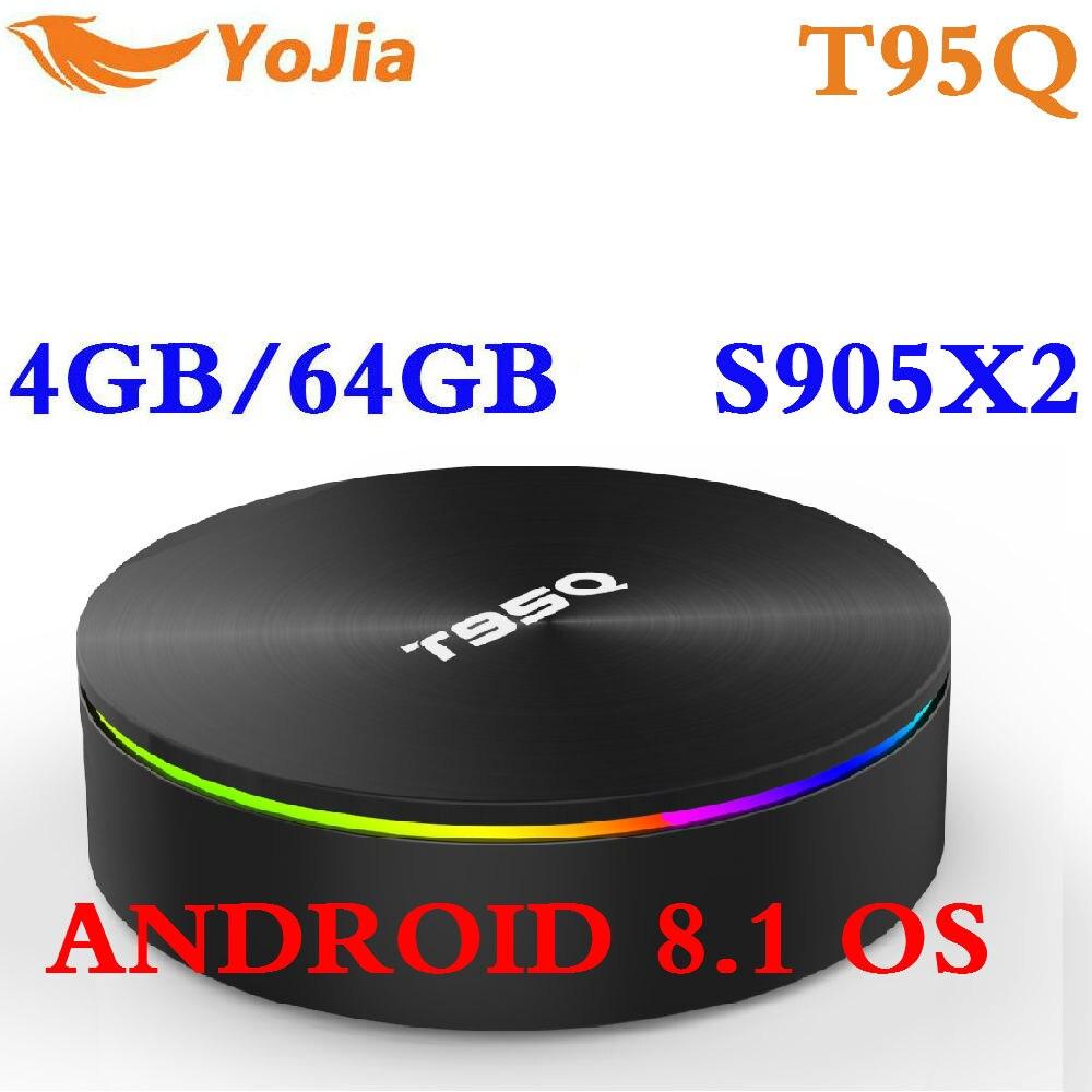 Amlogic S905X2 Android 8.1 TV BOX T95Q 4 K Smart Media Player T95Q 4 GB di RAM 64 GB DDR4 Quad nucleo 2.4G e 5 GHz Wifi PK X96 MAX TVBox