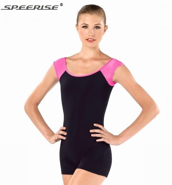 Adult Short Sleeve Unitard Women Shorts Unitard Bodysuit