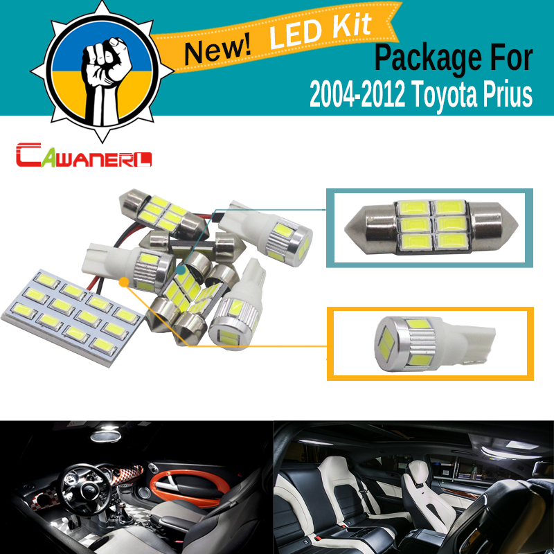 Cawanerl 8 Pieces Car 5630 Chip LED Bulb White Map Dome Trunk Courtesy Light Interior LED Kit Package For Toyota Prius 2004-2012