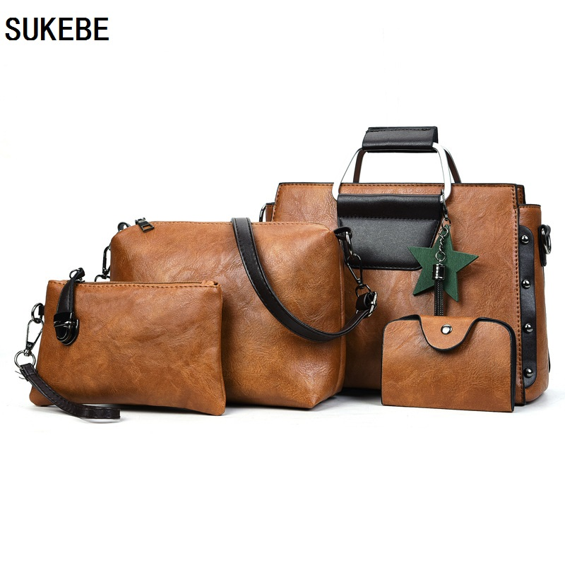 SUKEBE Fashion Composite Bag PU Leather Handbag Ladies Shoulder Bag Famous Brands Women Messanger Bags New Casual Women Bag 4pcs ...