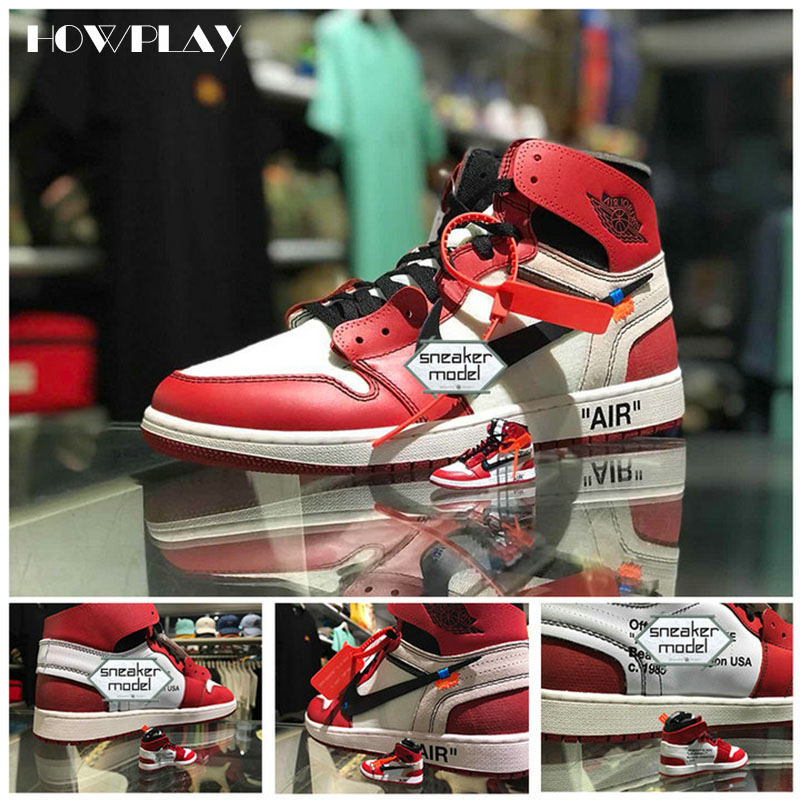 Howplay AJ1 OW 3D Keychains Off White Joint Collection Mini Sneakers Model Shoes Creative Gifts For Air Jordan Basketball Fan