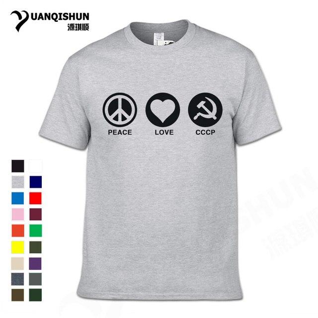 3fec9b2b YUANQISHUN PEACE LOVE CCCP Printing T-shirt Soviet Communism Tshirt USSR  Russian Mens Cotton Tee Fashion Design Homme Tshirt