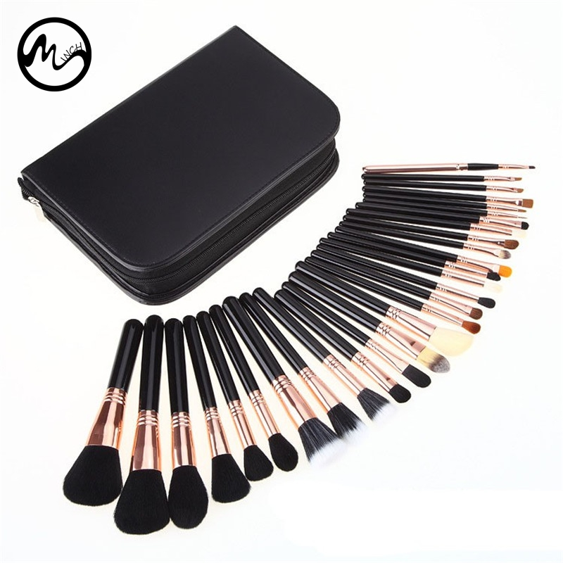 MINCH High Quality 29 Pcs Makeup Brushes Professional Face Lip Cosmetic Brush Set With Case Nature Bristle Make Up Brushes Kit mark maddox mark maddox hc3008 45