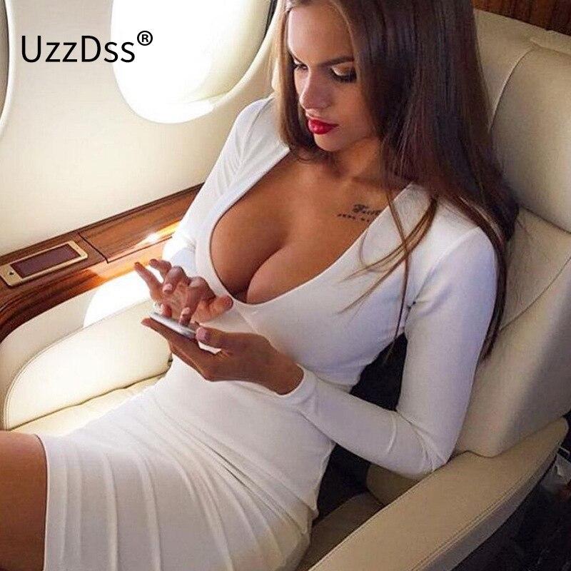 Tecido de inverno 2018 Quentes Vestidos de Festa Branco Vestidos Profundo Decote Em V manga longa mulheres de vestido Bandage Sexy Clube Desgaste Da Noite Bodycon