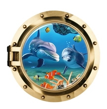 50*50CM 3D brass submarine window wall stickers decals baby home bedroom bathroom Decor underwater sea fish dolphins wallpaper