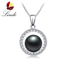 Luxury Zircon Big AAAA Natural Freshwater Pearl Pendants For Women Fashion 925 Sterling Silver Jewelry Semi Round Pearl Necklace(China)