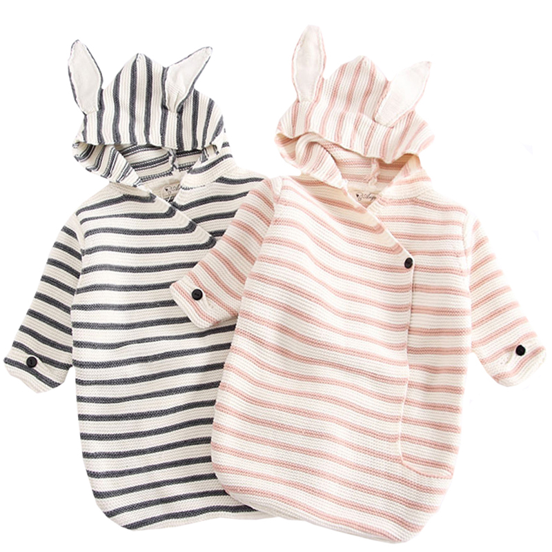 B83H31 Newborn Baby Blankets Knitted Baby Covers Rabbit Ear Swaddling Baby Wrap Photography Bunny Style Swaddle Wrap