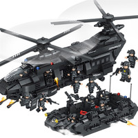 MEOA 1351PCS Large Swat Team Series Chinook Transport Helicopter Assault Boat Building Blocks Bricks Compatible LegoINGlys Swat