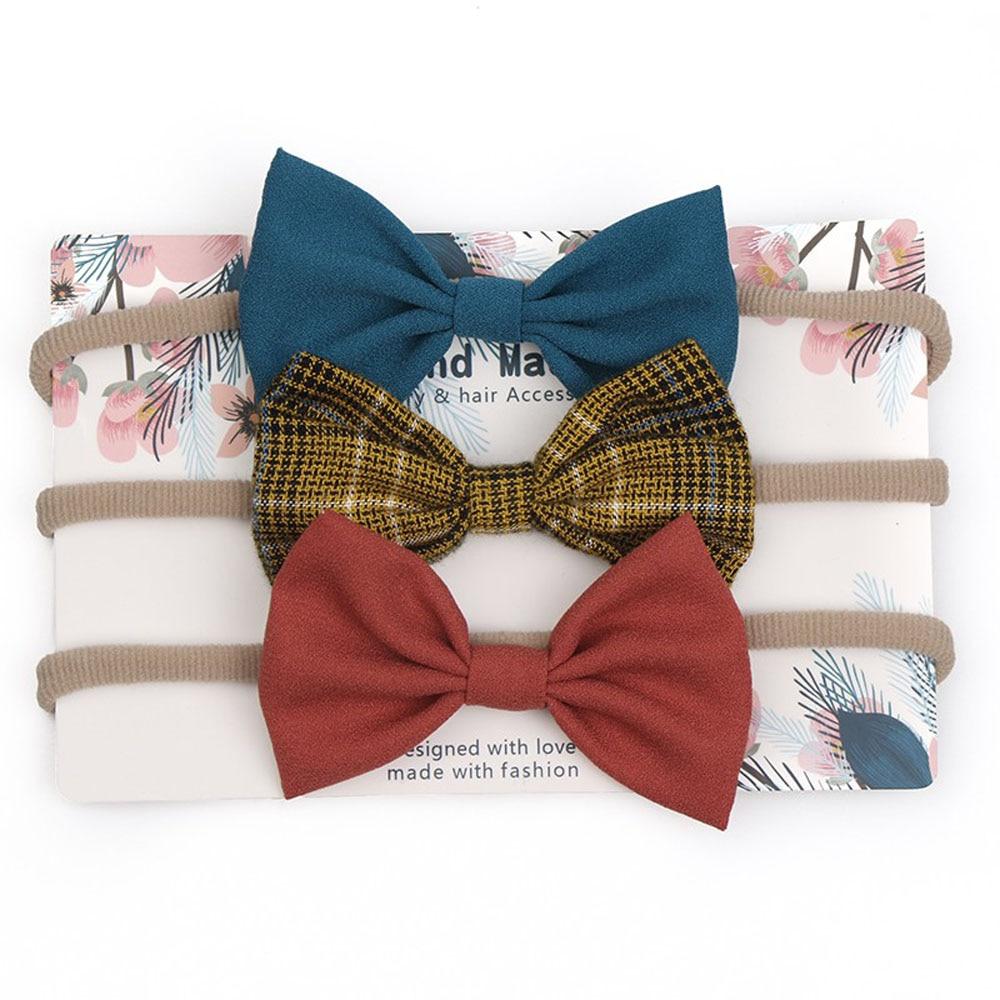 3pcs/lot Cute Bow Knot Elastic Nylon Headband For Baby Girls Kids Soft Fabric Bow Hairband Hair Accessories