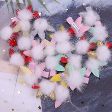 3PCS Cute Style Children Accessories Hairpins Rabbit Fur Ear Kids Girls Barrette Lovely Hair Clip Girl Boutique Hair Accessories(China)