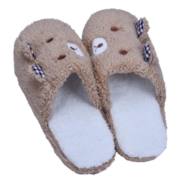 Новый бренд 2015 Горячих Женщин Прекрасный Медведь Домой Этаж Мягкий бархат Крытый Тапочки Обувь