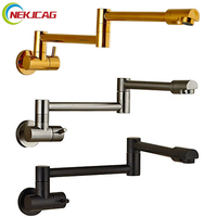 Single Lever Rotate Folding Spout Bathroom Kitchen Faucet Wall Mount Cold Water Sink Tap Chrome Black
