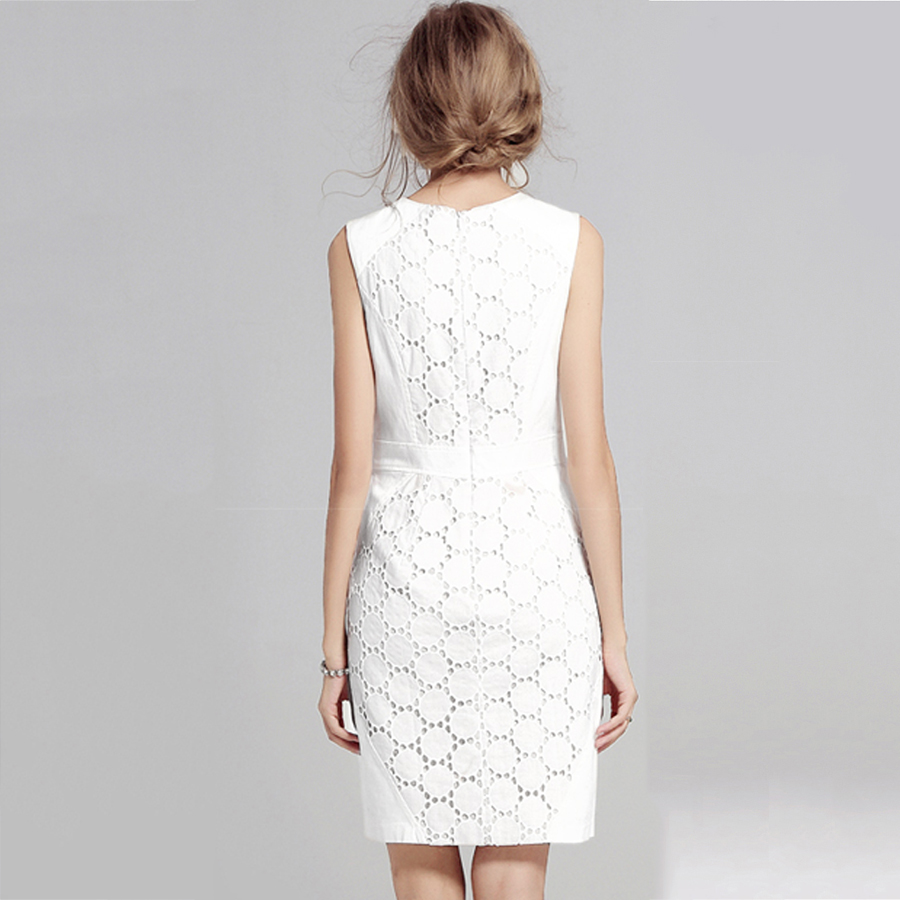 2017 Summer Dress Women Sexy Sleeveless Solid Color Slim Plus Size Dresses Fashion Casual Club Plus Size White Lace Mini Dress