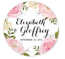 1 5inch Modern Vintage Pink Floral Wedding Custom Favor Classic Round Sticker