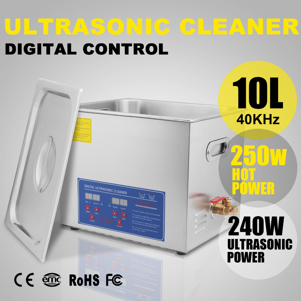 Ultrasonic Cleaner 10 L Liter Stainless Steel Industry Heated Digital 490W 110v/220v Commercial Machine