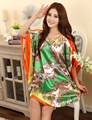 Plus Size Faux Silk Bath Robe Women Rayon Night Gown Round Collar Nightgown Hot Sale Ladies summer Nuisette Pijama Mujer Xsz622C