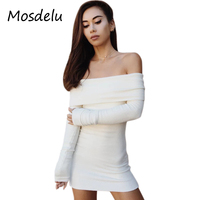 Mosdelu Knitted Sweater Dress Women Autumn 2017 Bodycon Dress Long Sleeve Off The Shoulder Dresses White