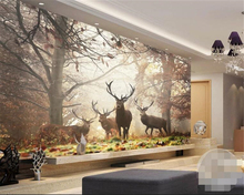 Beibehang Customized large mural wallpaper retro nostalgic forest deer TV background wall papel de pared 3d