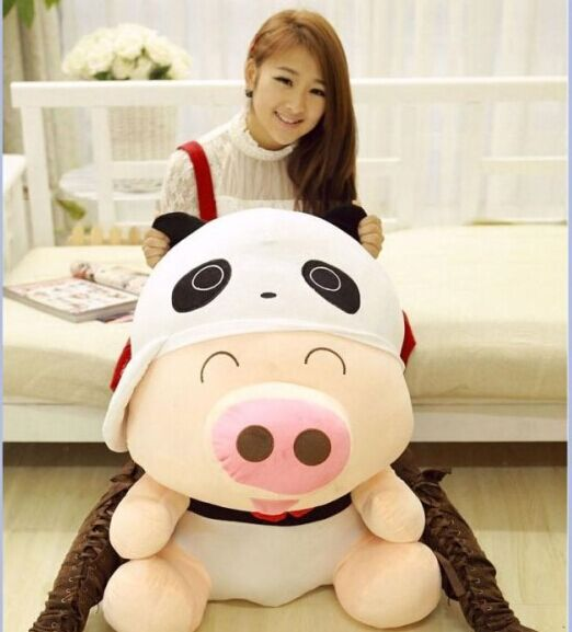 filling toy huge about 95cm Mcdull pig plush toy turned to panda, rabbit ,frog,duck soft hugging pillow birthday gift w3528
