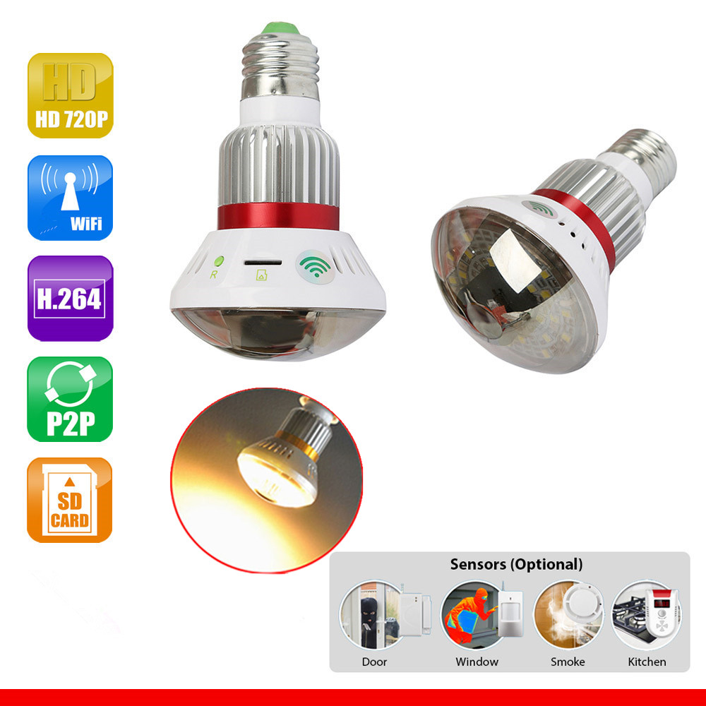 785YM Home Mirror Bulb Lamp  HD 720P WiFi P2P IP Network DVR Camera with 5 Watt Warm Bulb Light Surveillance Camera