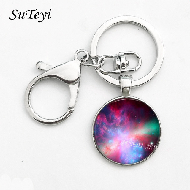 Nebula space pendant Key Ring astronomy geek Keychain sci-fi science galaxy space Key Chain glass dome pendant Jewellery Gift 3