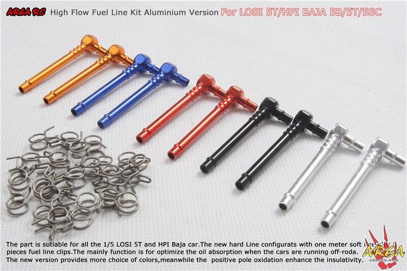 Area Rc Fuel Line Kit Aluminium Version For Losi 5T Baja 5B 5T 5SC area rc tranny plate for hpi baja 5b 5t 5sc