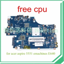 NOKOTION NEW75 LA-5912P MBNA102001 MB. NA102.001 Para acer aspire 5551 placa madre DDR3 HD4200 emachines E640 envío cpu