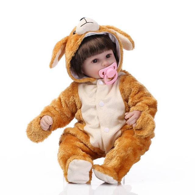 40 см Винилсиликоновых reborn детские реалистичного сопровождать сна кукла игрушки для девочек моделирования играть дома игрушки kid подарок на день рождения подарок
