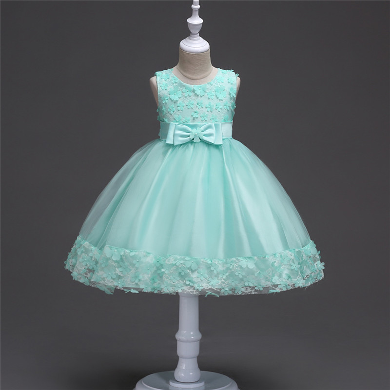 Wedding Flower Dresses for Girl Sleeveless Bow Children Clothes Floral Party Vestido 4 6 8 Year Kids Wedding Tutu Dress Princess princess bow girl party dress summer 2017 sleeveless beach wedding white flower girl dresses kid clothes for girls 2 10 year