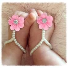 30f1de120 Recién Nacido bebé flor calzado de verano sandalias pies descalzos caliente  playa pie pulsera para bebé